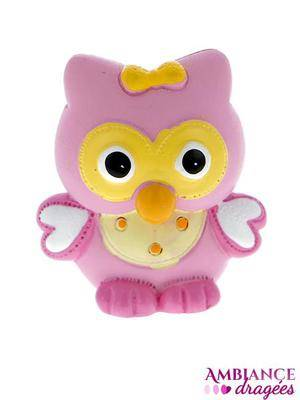 Figurine hibou rose