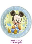 8 Assiettes Mickey baby 23 cm