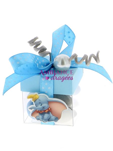 Cube Dragees Bapteme Dumbo Bleu Bapteme Disney Ambiance Dragees